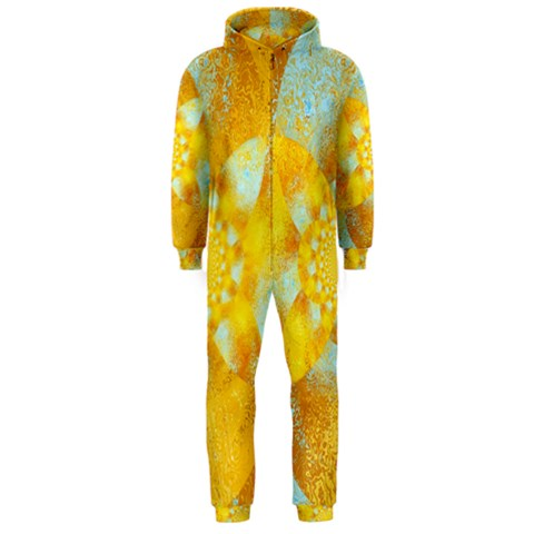 Gold Blue Abstract Blossom Hooded Jumpsuit (Men)
