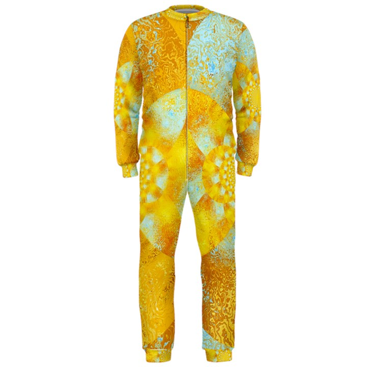 Gold Blue Abstract Blossom OnePiece Jumpsuit (Men)