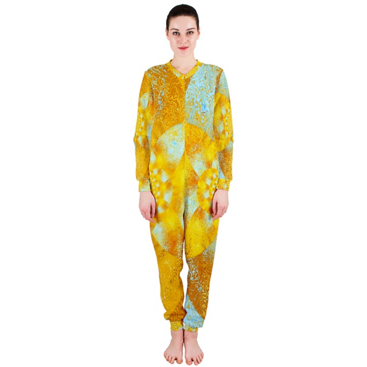 Gold Blue Abstract Blossom OnePiece Jumpsuit (Ladies)