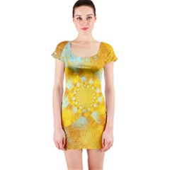 Gold Blue Abstract Blossom Short Sleeve Bodycon Dress