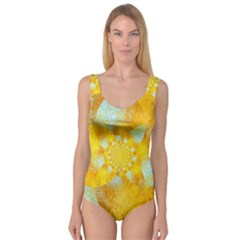 Gold Blue Abstract Blossom Princess Tank Leotard