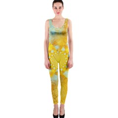 Gold Blue Abstract Blossom OnePiece Catsuit