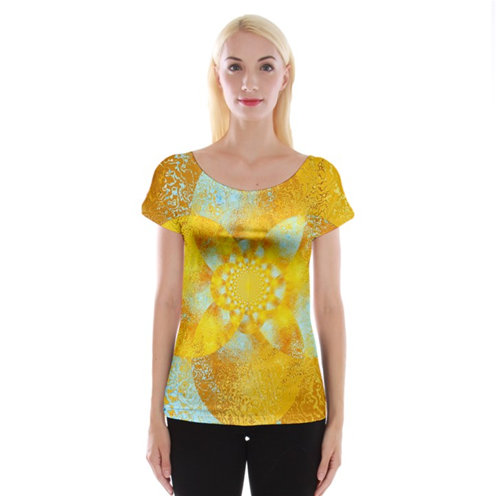 Gold Blue Abstract Blossom Women s Cap Sleeve Top
