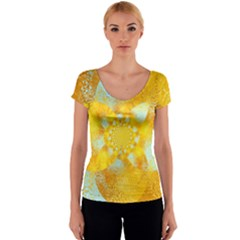 Gold Blue Abstract Blossom Women s V-Neck Cap Sleeve Top