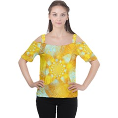 Gold Blue Abstract Blossom Women s Cutout Shoulder Tee