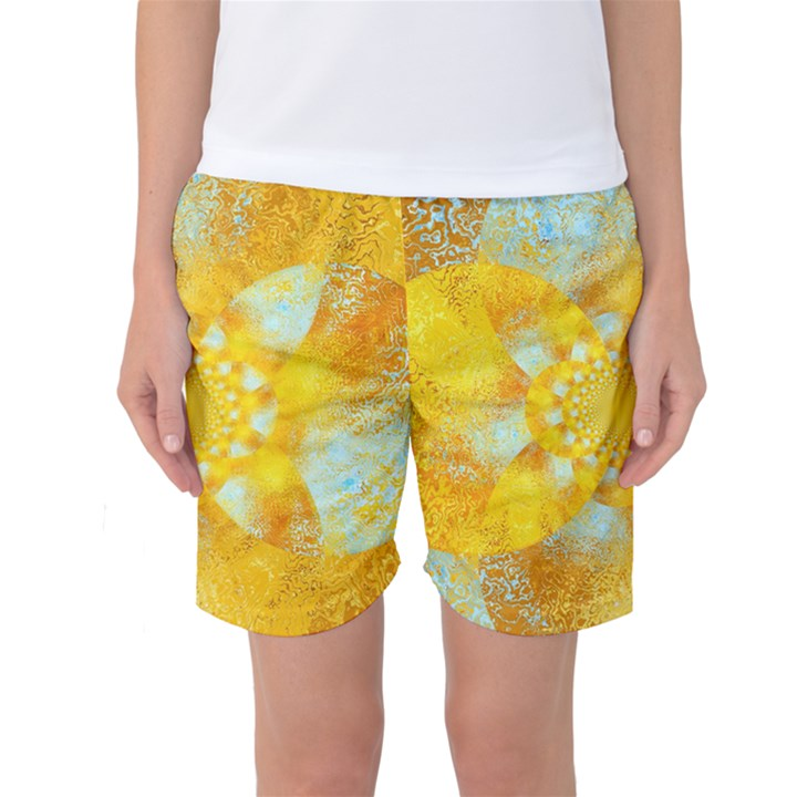 Gold Blue Abstract Blossom Women s Basketball Shorts