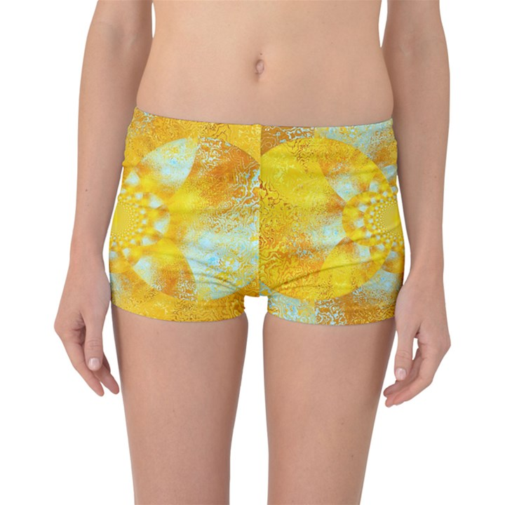 Gold Blue Abstract Blossom Boyleg Bikini Bottoms