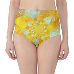 Gold Blue Abstract Blossom High-Waist Bikini Bottoms