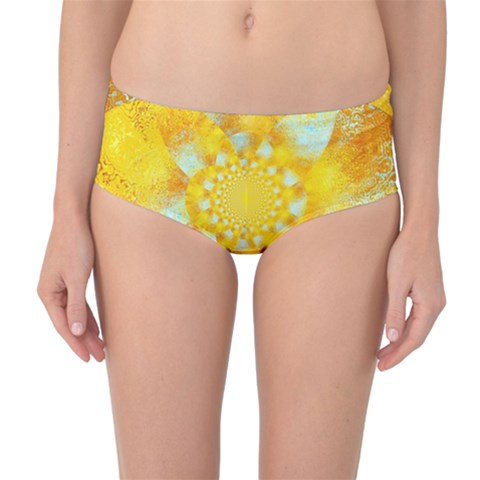 Gold Blue Abstract Blossom Mid-Waist Bikini Bottoms