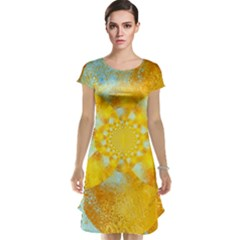 Gold Blue Abstract Blossom Cap Sleeve Nightdress