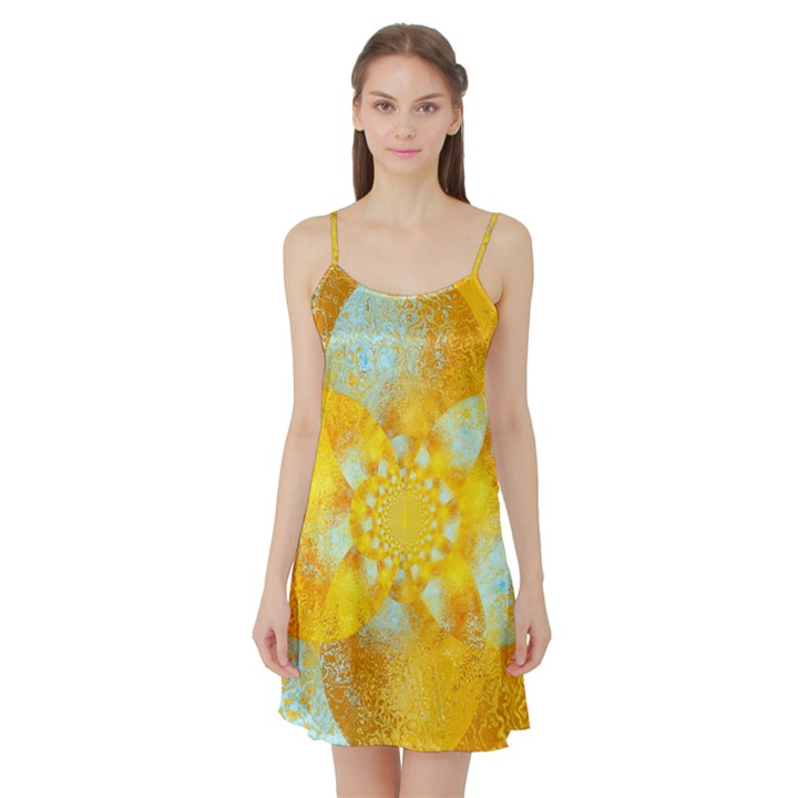 Gold Blue Abstract Blossom Satin Night Slip