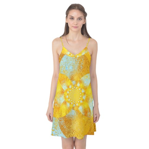 Gold Blue Abstract Blossom Camis Nightgown