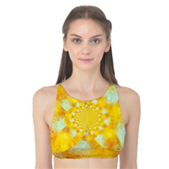 Gold Blue Abstract Blossom Tank Bikini Top