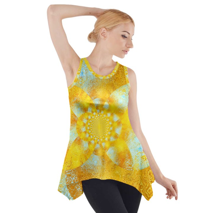 Gold Blue Abstract Blossom Side Drop Tank Tunic