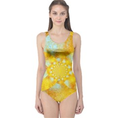 Gold Blue Abstract Blossom One Piece Swimsuit