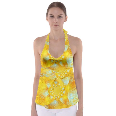 Gold Blue Abstract Blossom Babydoll Tankini Top