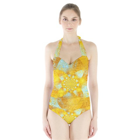 Gold Blue Abstract Blossom Halter Swimsuit