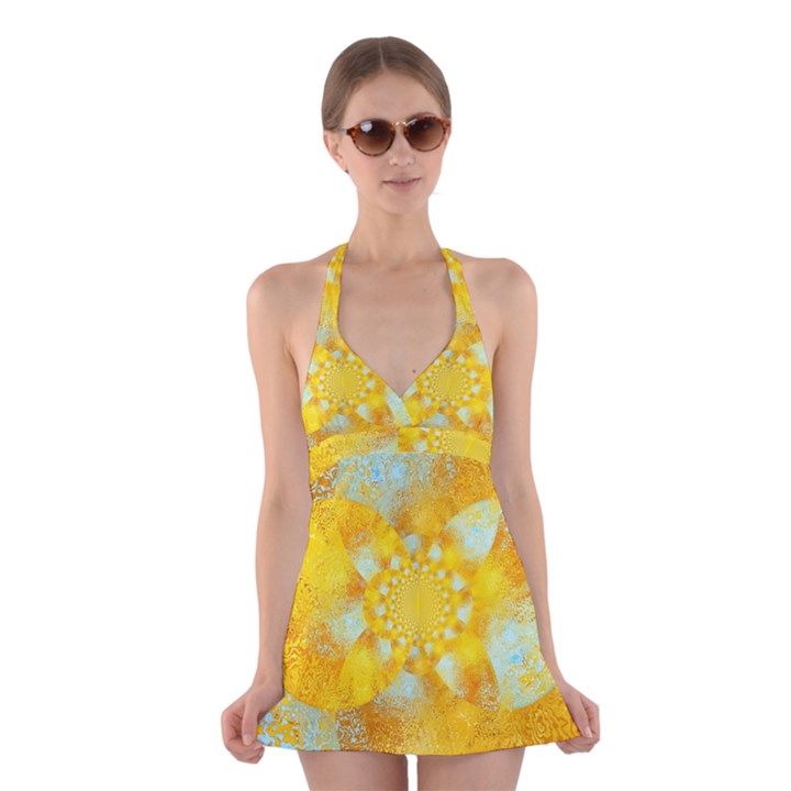 Gold Blue Abstract Blossom Halter Swimsuit Dress