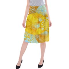 Gold Blue Abstract Blossom Midi Beach Skirt