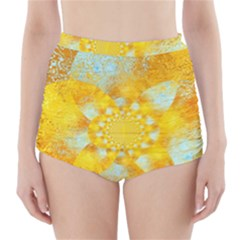 Gold Blue Abstract Blossom High-Waisted Bikini Bottoms