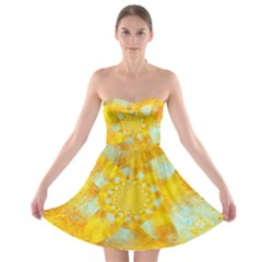 Gold Blue Abstract Blossom Strapless Bra Top Dress