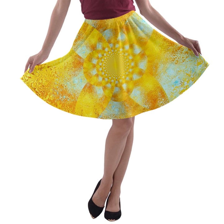 Gold Blue Abstract Blossom A-line Skater Skirt