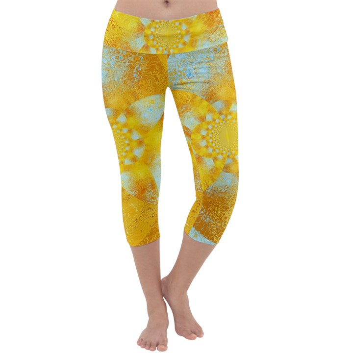 Gold Blue Abstract Blossom Capri Yoga Leggings