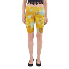 Gold Blue Abstract Blossom Yoga Cropped Leggings