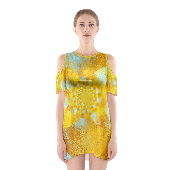Gold Blue Abstract Blossom Cutout Shoulder Dress