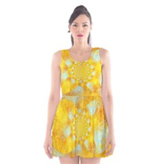 Gold Blue Abstract Blossom Scoop Neck Skater Dress