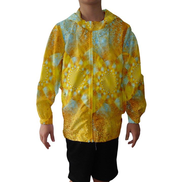 Gold Blue Abstract Blossom Hooded Wind Breaker (Kids)