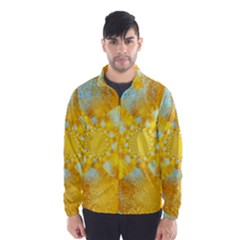 Gold Blue Abstract Blossom Wind Breaker (men)