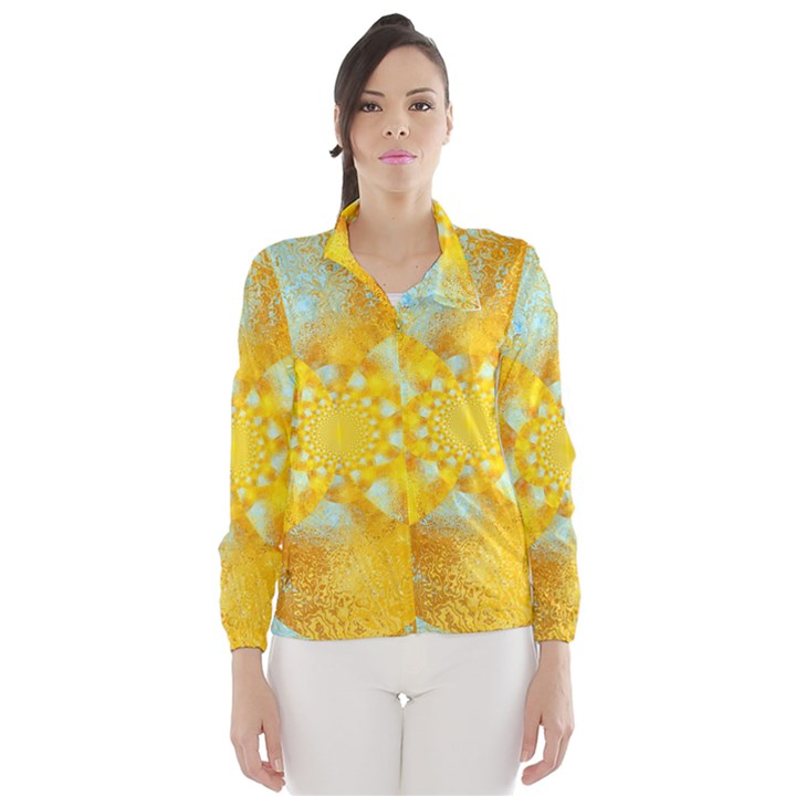 Gold Blue Abstract Blossom Wind Breaker (Women)