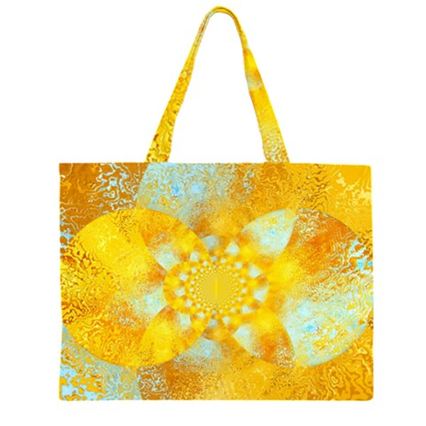 Gold Blue Abstract Blossom Large Tote Bag