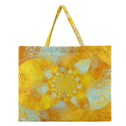 Gold Blue Abstract Blossom Zipper Large Tote Bag