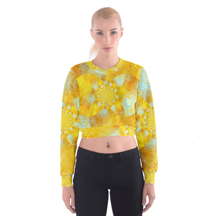 Gold Blue Abstract Blossom Women s Cropped Sweatshirt