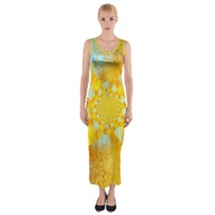 Gold Blue Abstract Blossom Fitted Maxi Dress