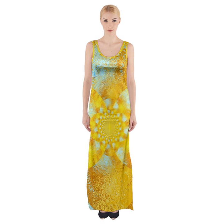 Gold Blue Abstract Blossom Maxi Thigh Split Dress