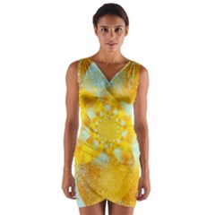 Gold Blue Abstract Blossom Wrap Front Bodycon Dress