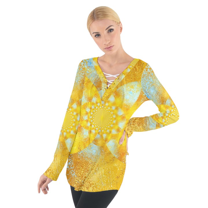 Gold Blue Abstract Blossom Women s Tie Up Tee