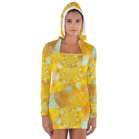 Gold Blue Abstract Blossom Women s Long Sleeve Hooded T-shirt