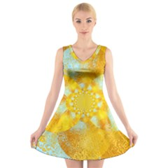 Gold Blue Abstract Blossom V-Neck Sleeveless Skater Dress