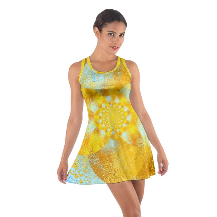 Gold Blue Abstract Blossom Cotton Racerback Dress