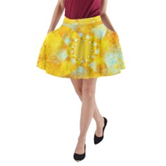Gold Blue Abstract Blossom A Line Pocket Skirt