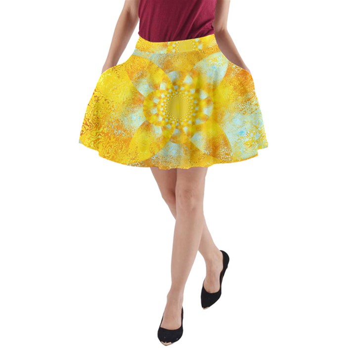 Gold Blue Abstract Blossom A-Line Pocket Skirt
