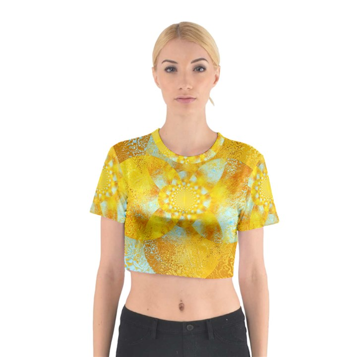 Gold Blue Abstract Blossom Cotton Crop Top