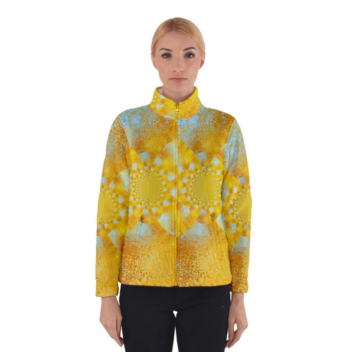 Gold Blue Abstract Blossom Winterwear