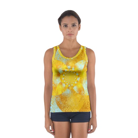 Gold Blue Abstract Blossom Women s Sport Tank Top