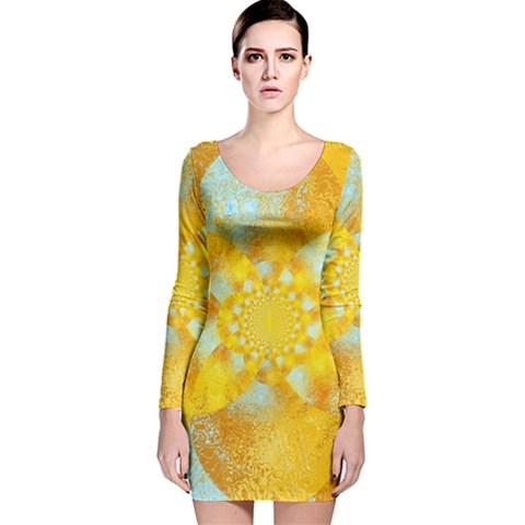 Gold Blue Abstract Blossom Long Sleeve Velvet Bodycon Dress