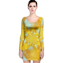 Gold Blue Abstract Blossom Long Sleeve Velvet Bodycon Dress